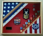 Coast Guard Flag Case, American flag display case, Flag and medal display case, Marine corps flag and medals display